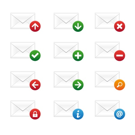 Email icon set Stock Vector - 9543348
