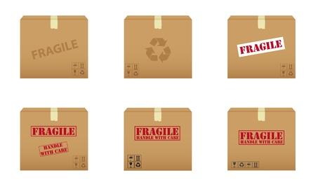 Collectie van kartonnen dozen