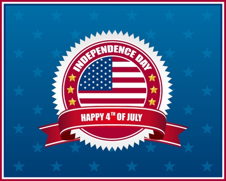 independence day badge with patriotic background Vector