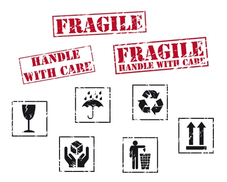 handle with care: Frigile rubber stamps Illustration