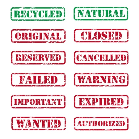 cancelled stamp: Collection of various rubber stamps Illustration