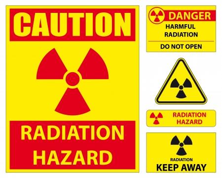 conjunto de signo de peligro de radiación Ilustración de vector