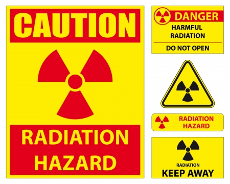 radiation pollution: radiation hazard sign set