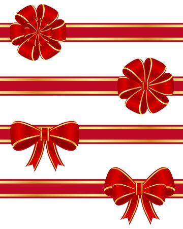 Red bows collection Vector