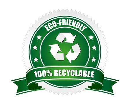 100% recyclable sign Vector