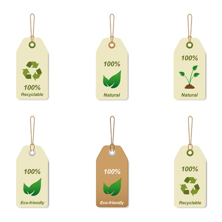 reciclable: Etiquetas reciclables y naturales