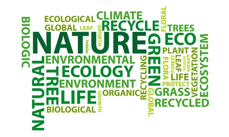 Nature word cloud conceptual illustration Illustration