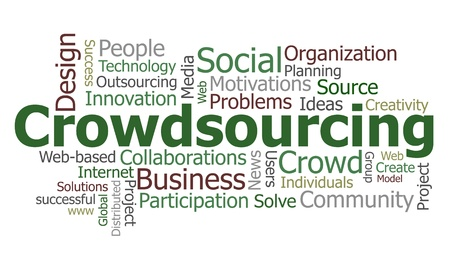 Crowdsourcing word cloud conceptual illustration