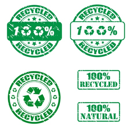 Collection of grunge recycled stamp Vector