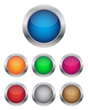 chrome ball: Collection of glossy buttons Illustration
