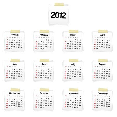 2012 calendar on reminders Stock Vector - 10421962