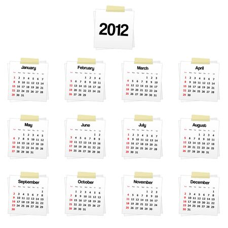 2012 calendar on reminders Stock Vector - 10421962