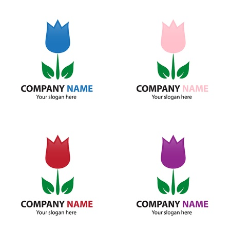 florist: Collection of flower logo