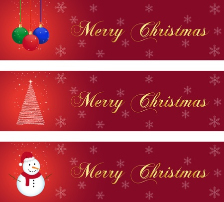 Three christmas banner with balls, tree and snowman
