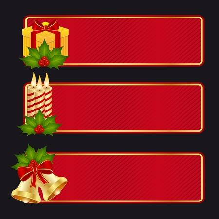 moños navideños: Colección de bandera para celebrar la Navidad y año nuevo