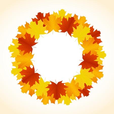 秋の葉の花輪の背景