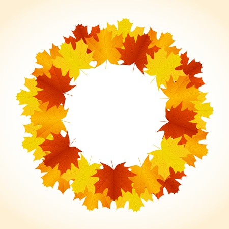 Autumn background with leaves wreath Vector
