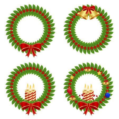 Collection of holly wreath Vector