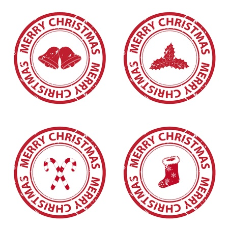 Christmas rubber stamps Vector