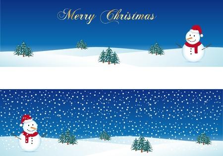 Kerst banners met sneeuwpop Vector Illustratie