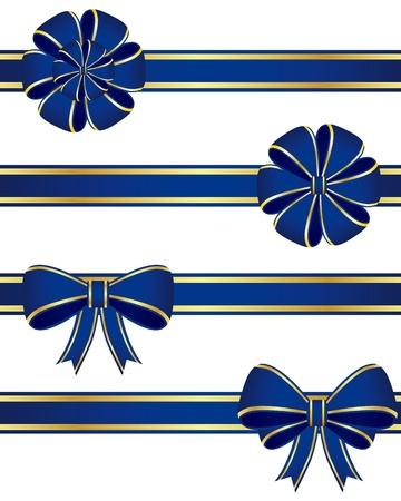 moños de navidad: Colección de lazos azules Vectores