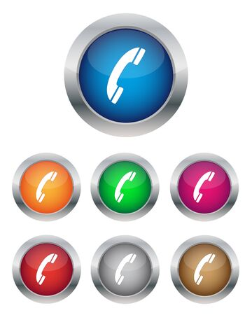Collection of phone support buttons in various colors Vector
