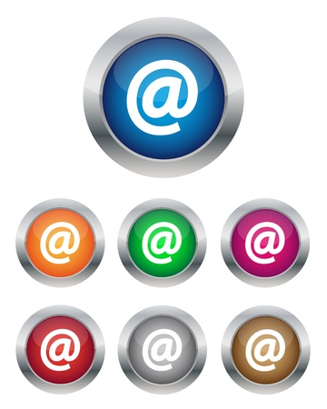 Collection of email buttons in various colors Vector