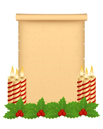 Christmas parchment greeting with decoration Stock Vector - 11497376