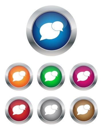 metal net: Botones de conversaci�n en varios colores Vectores