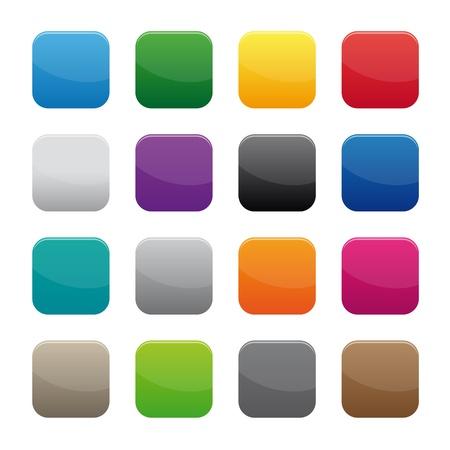 cuadrados: Botones cuadrados en blanco
