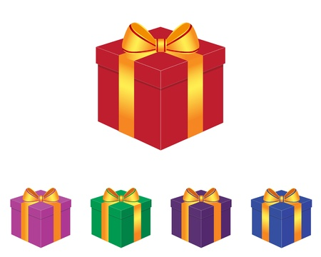 Collection of gift box in various colors