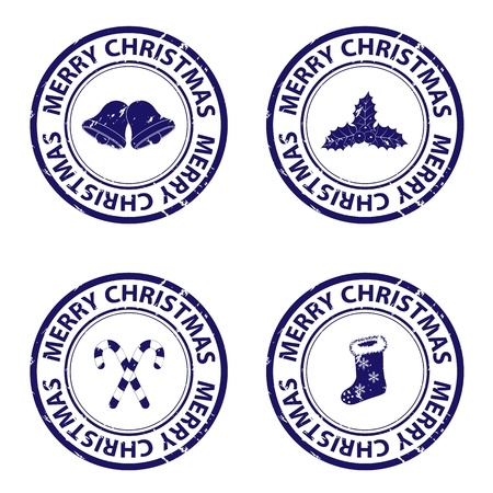 Blue christmas stamps Vector