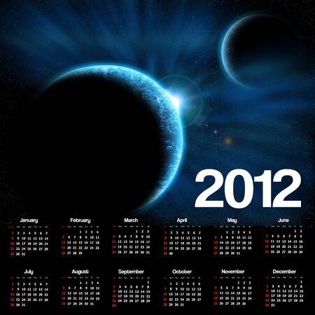 2012 calendar with space scene photo