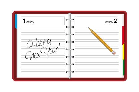 tabbed folder: Diary with greetings happy new year