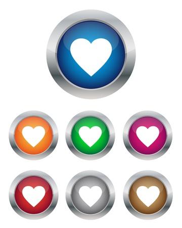 crystal heart: Heart buttons