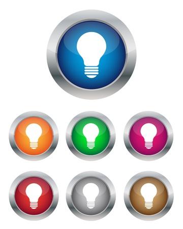 lightbulb idea: Lampada pulsanti Vettoriali