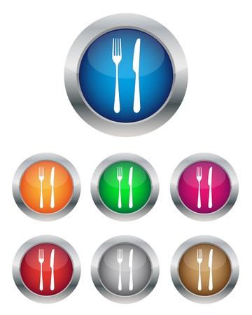 blue white kitchen: Restaurant buttons Illustration