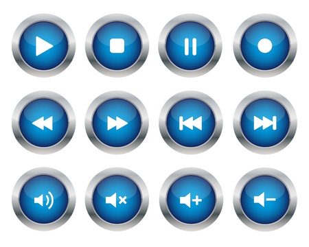 pause button: Blue multimedia buttons