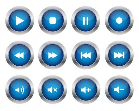 Blue multimedia knoppen
