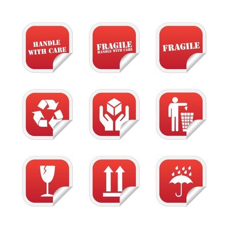 Fragile stickers Vetores