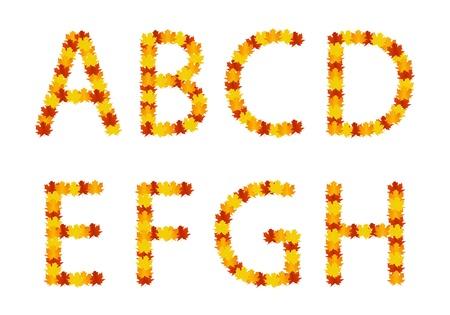 Autumn leaves alphabet letters Stock Vector - 15133241