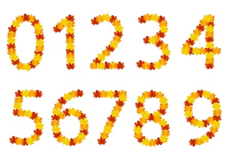 Autumn leaves numbers Vector