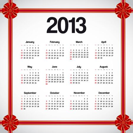 Calendar 2013 with red bows Vector