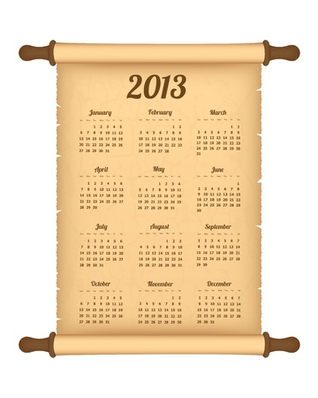 2013 calendar on parchment roll Stock Vector - 16582255