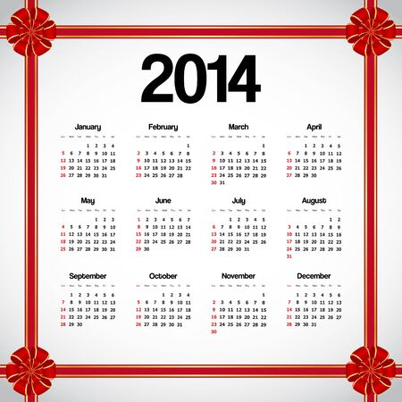 Calendar 2014 with red bows Vector