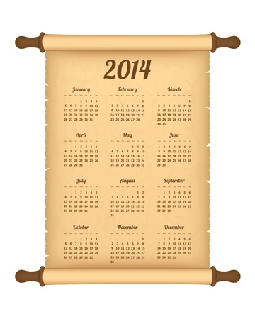 2014 calendar on parchment roll Vector