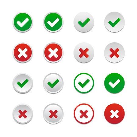 green cross: Validation buttons Illustration