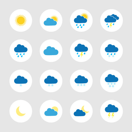 Round colorful weather icons