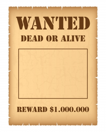 burnt edges: Wanted poster Illustration