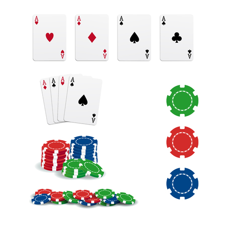 poker chip: Poker cards and chips Illustration